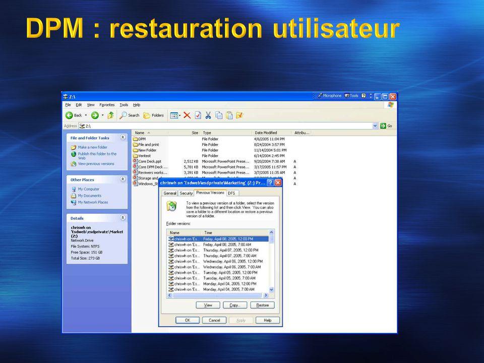 DPM : restauration utilisateur