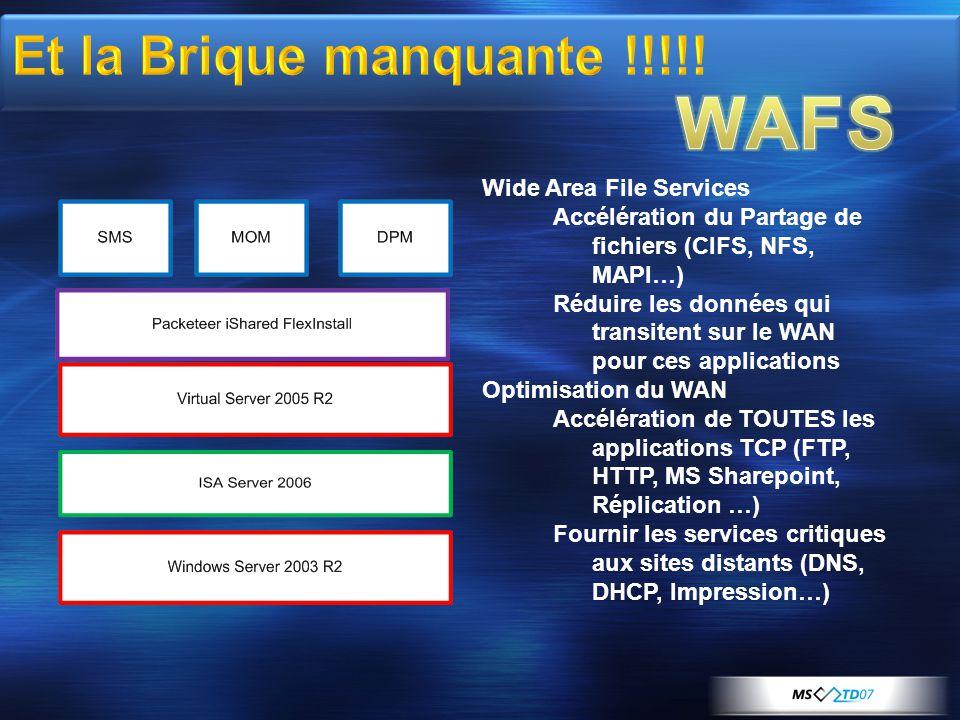 WAFS Et la Brique manquante !!!!! Wide Area File Services