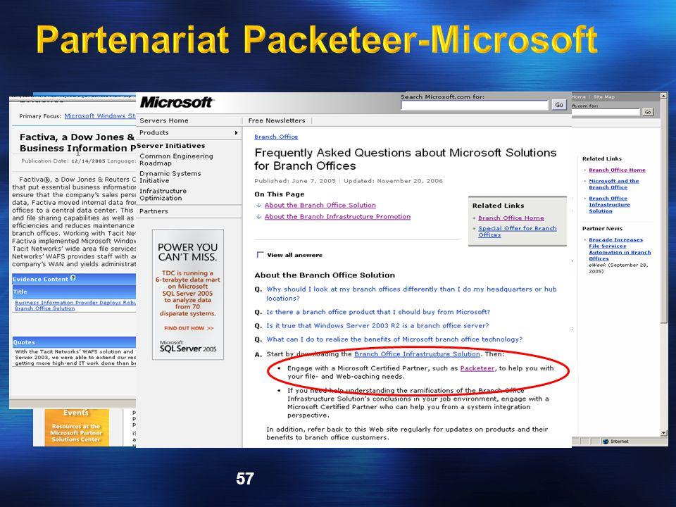 Partenariat Packeteer-Microsoft
