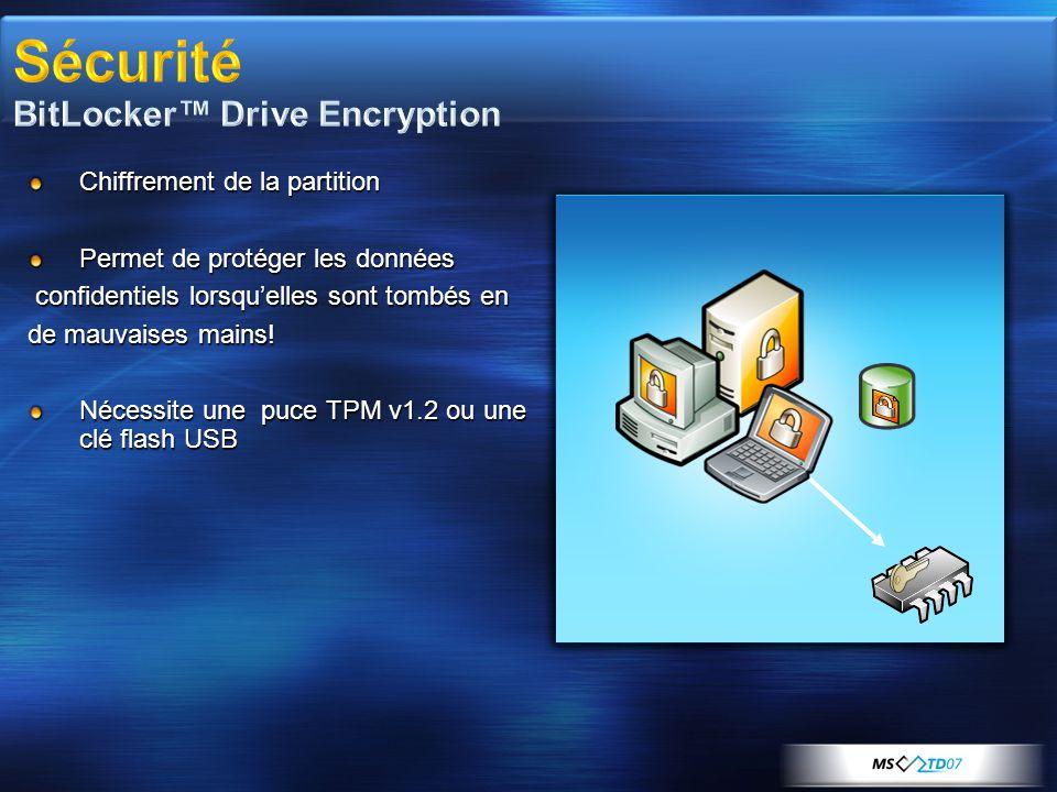 Sécurité BitLocker™ Drive Encryption