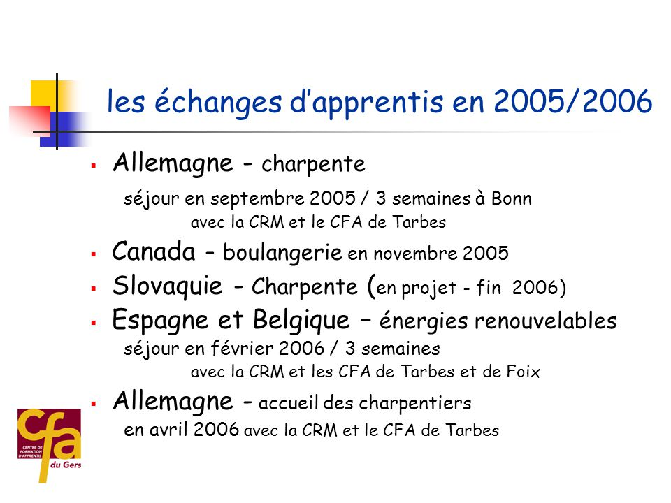 les échanges d'apprentis en 2005/2006