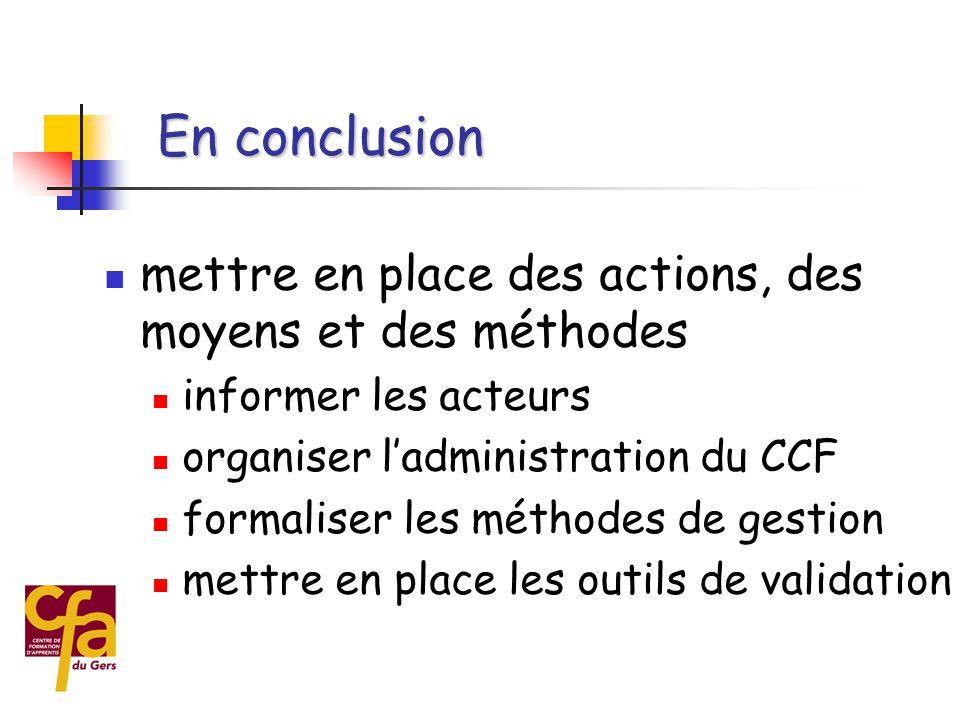 En conclusion mettre en place des actions, des moyens et des méthodes