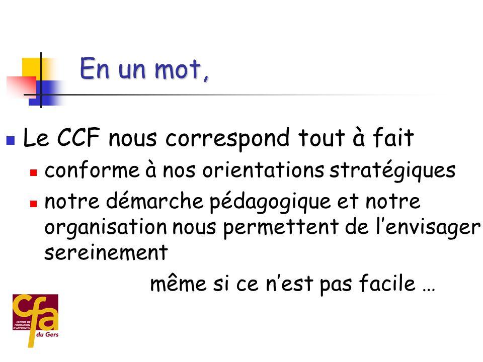 En un mot, Le CCF nous correspond tout à fait