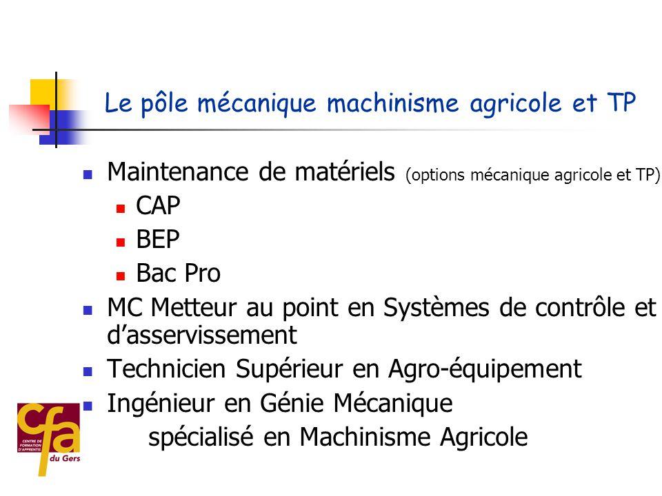 Le pôle mécanique machinisme agricole et TP