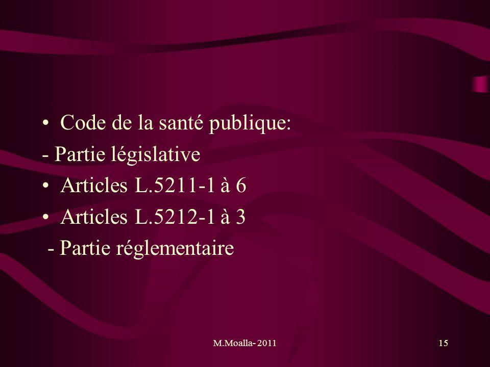 Code de la santé publique: - Partie législative Articles L.5211-1 à 6
