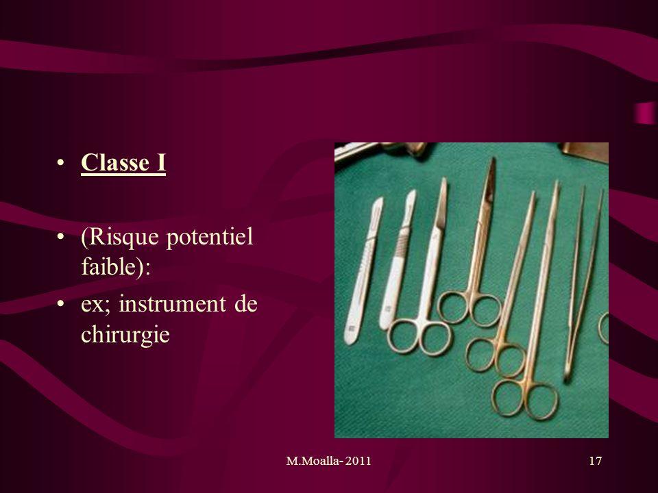 (Risque potentiel faible): ex; instrument de chirurgie