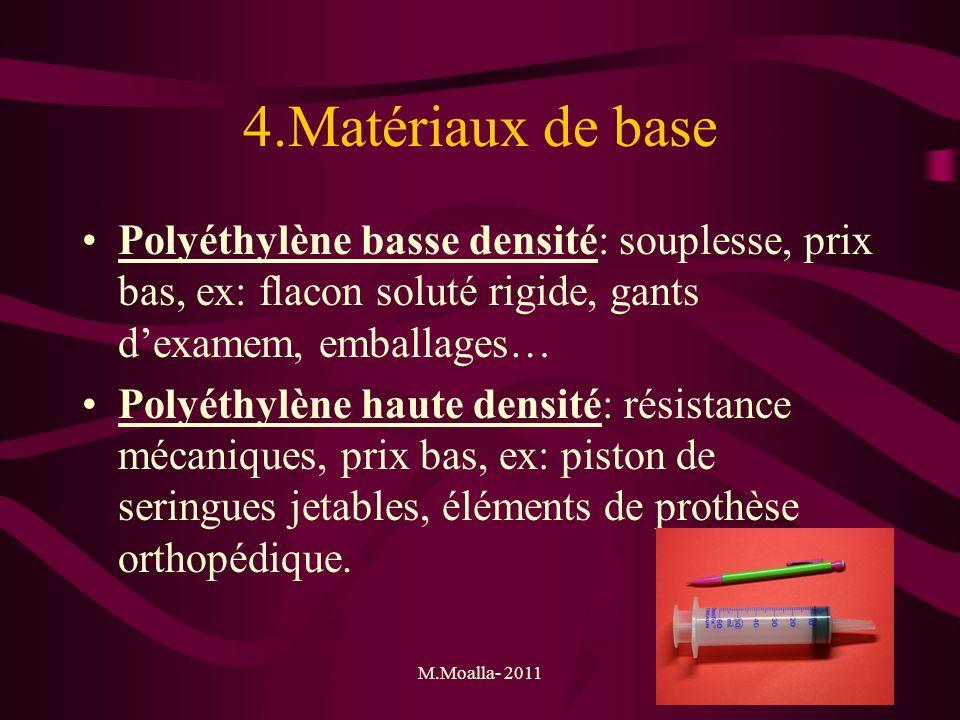 4.Matériaux de base Polyéthylène basse densité: souplesse, prix bas, ex: flacon soluté rigide, gants d'examem, emballages…