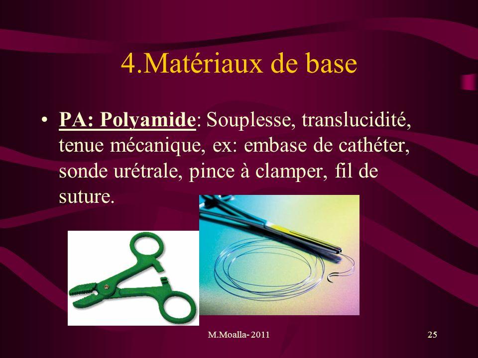 4.Matériaux de base PA: Polyamide: Souplesse, translucidité, tenue mécanique, ex: embase de cathéter, sonde urétrale, pince à clamper, fil de suture.