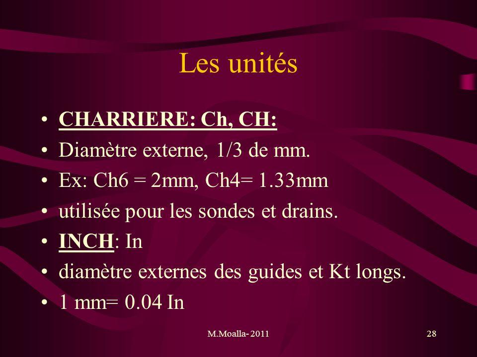 Les unités CHARRIERE: Ch, CH: Diamètre externe, 1/3 de mm.