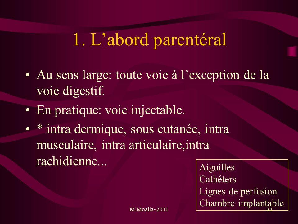 1. L'abord parentéral Au sens large: toute voie à l'exception de la voie digestif. En pratique: voie injectable.