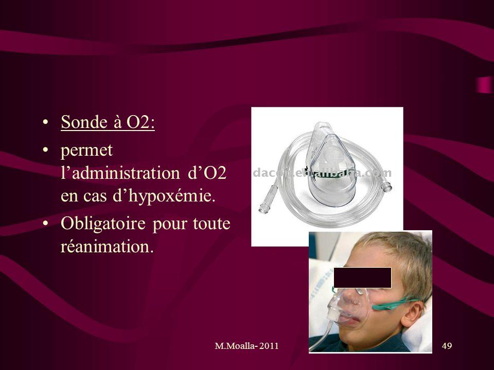 permet l'administration d'O2 en cas d'hypoxémie.