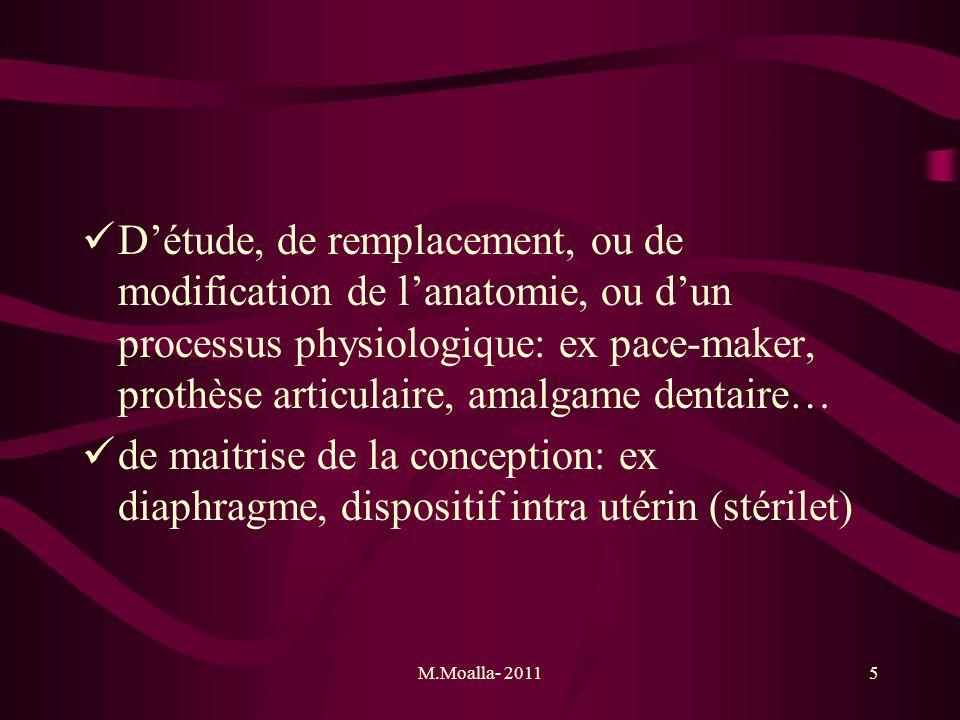 D'étude, de remplacement, ou de modification de l'anatomie, ou d'un processus physiologique: ex pace-maker, prothèse articulaire, amalgame dentaire…