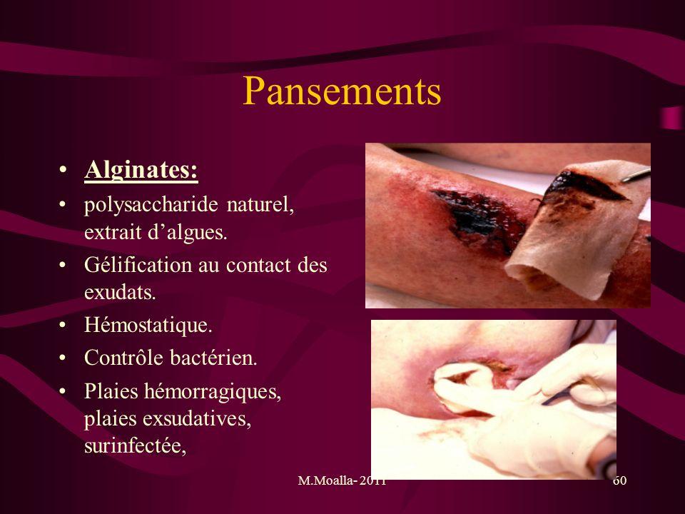 Pansements Alginates: polysaccharide naturel, extrait d'algues.