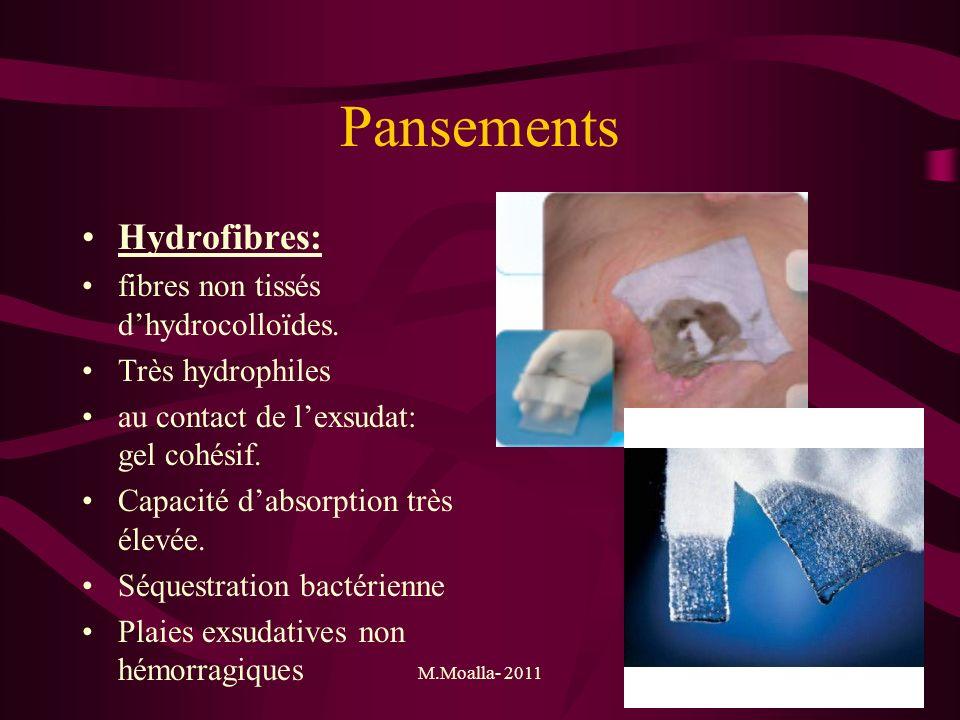Pansements Hydrofibres: fibres non tissés d'hydrocolloïdes.