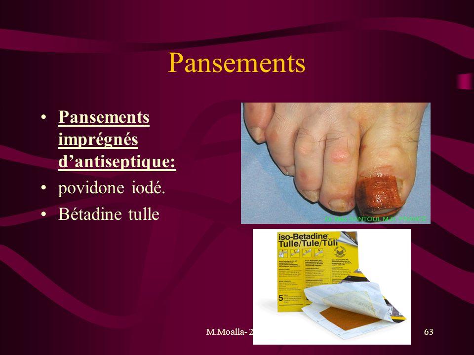 Pansements Pansements imprégnés d'antiseptique: povidone iodé.