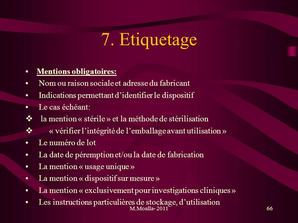 7. Etiquetage Mentions obligatoires: