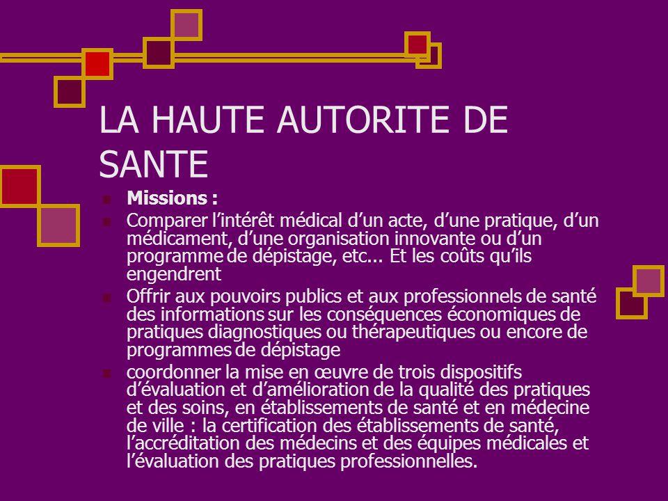 LA HAUTE AUTORITE DE SANTE