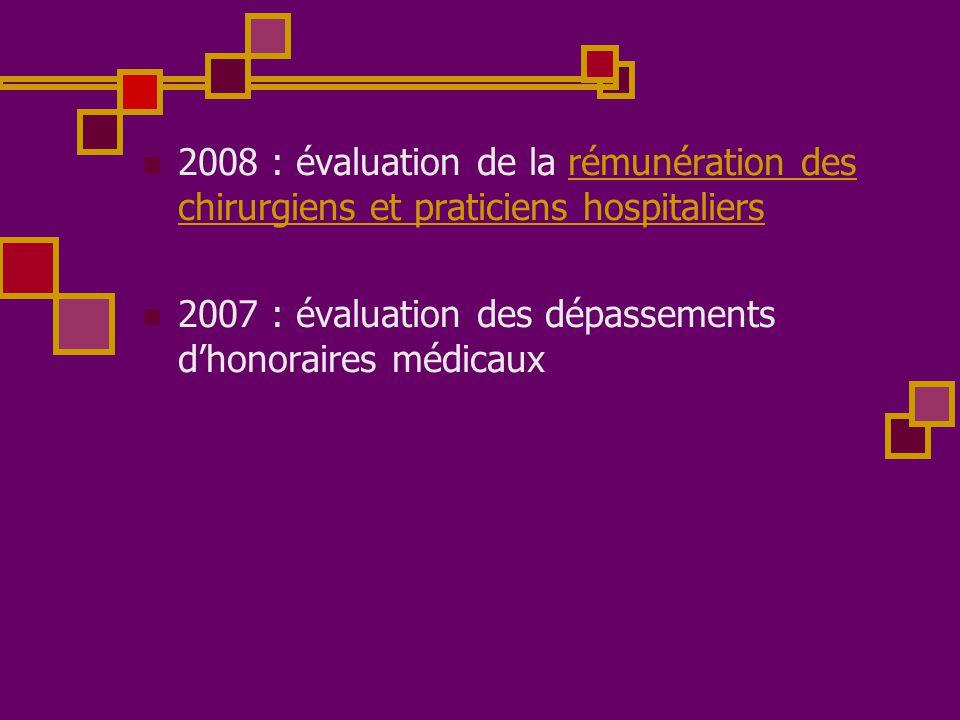 2008 : évaluation de la rémunération des chirurgiens et praticiens hospitaliers