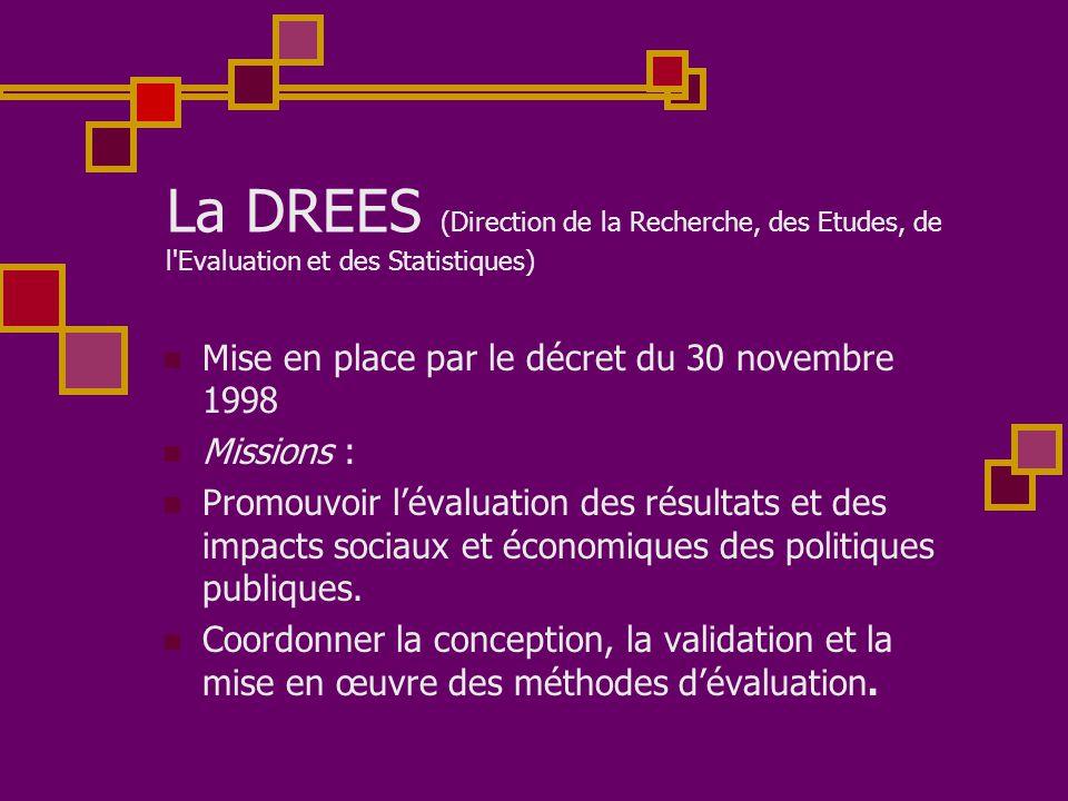 La DREES (Direction de la Recherche, des Etudes, de l Evaluation et des Statistiques)