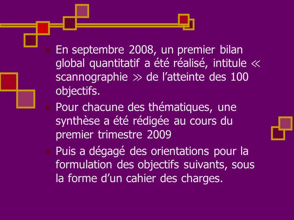 En septembre 2008, un premier bilan global quantitatif a été réalisé, intitule ≪ scannographie ≫ de l'atteinte des 100 objectifs.