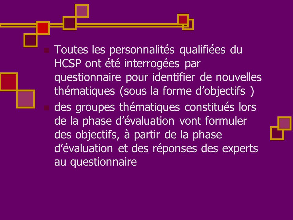 Toutes les personnalités qualifiées du HCSP ont été interrogées par questionnaire pour identifier de nouvelles thématiques (sous la forme d'objectifs )