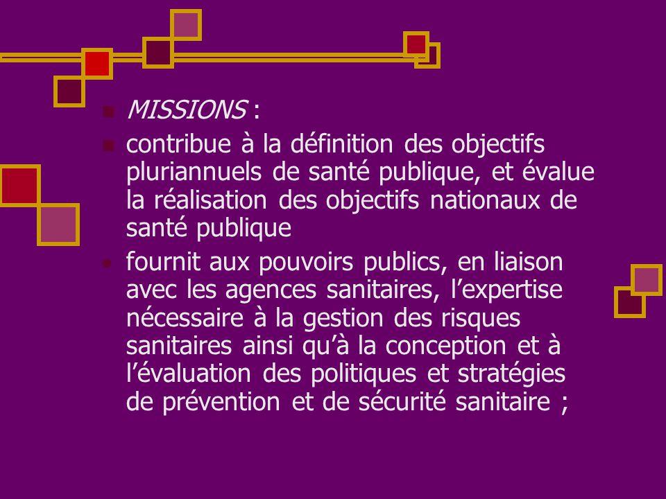 MISSIONS : contribue à la définition des objectifs pluriannuels de santé publique, et évalue la réalisation des objectifs nationaux de santé publique.