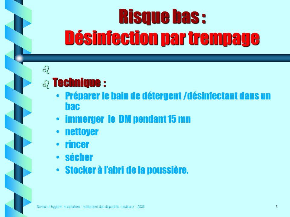 Risque bas : Désinfection par trempage