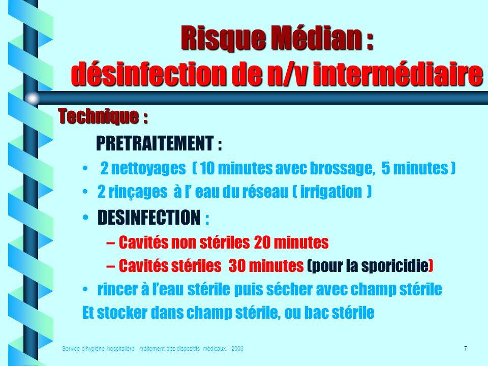 Risque Médian : désinfection de n/v intermédiaire