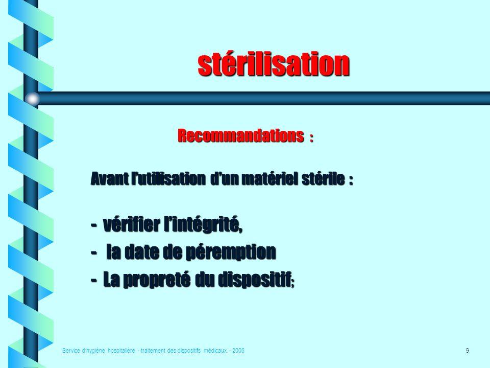 stérilisation vérifier l'intégrité, la date de péremption