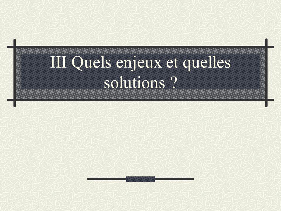 III Quels enjeux et quelles solutions