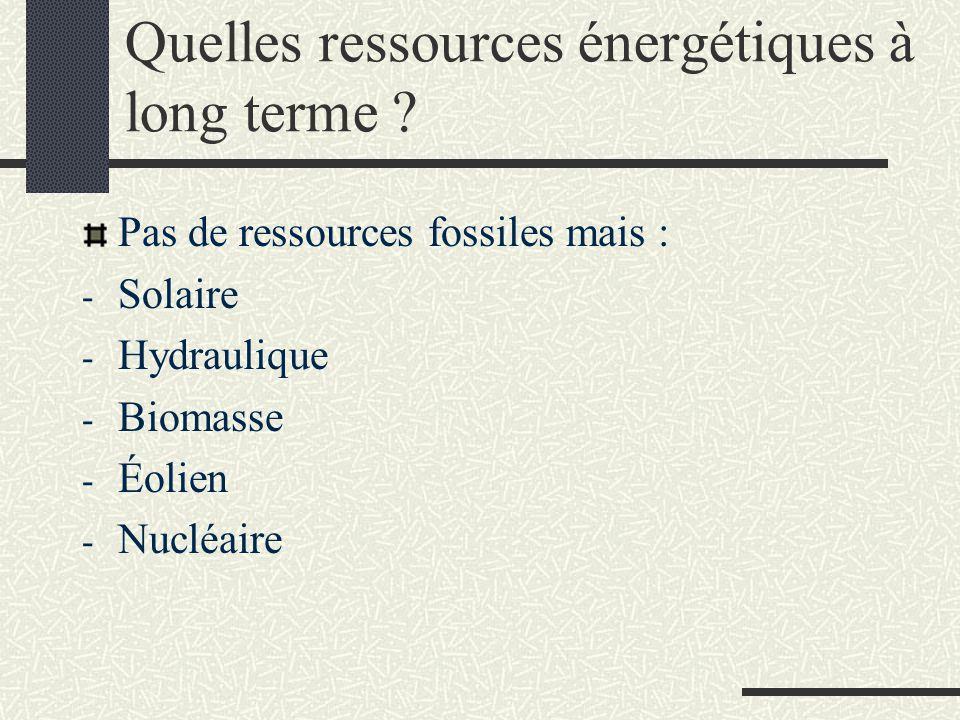 Quelles ressources énergétiques à long terme