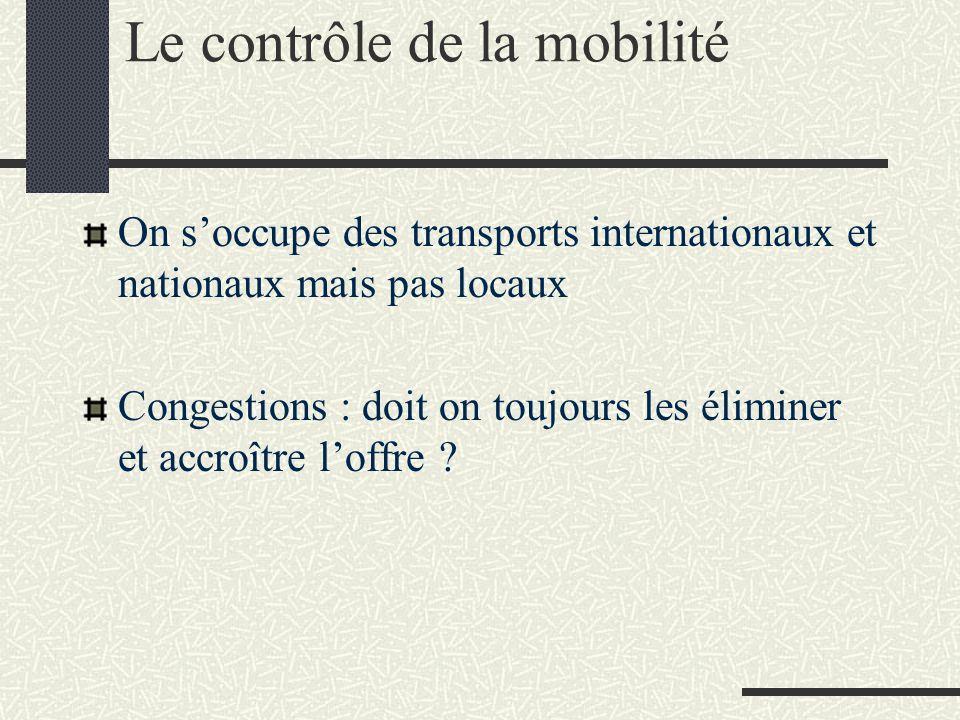 Le contrôle de la mobilité