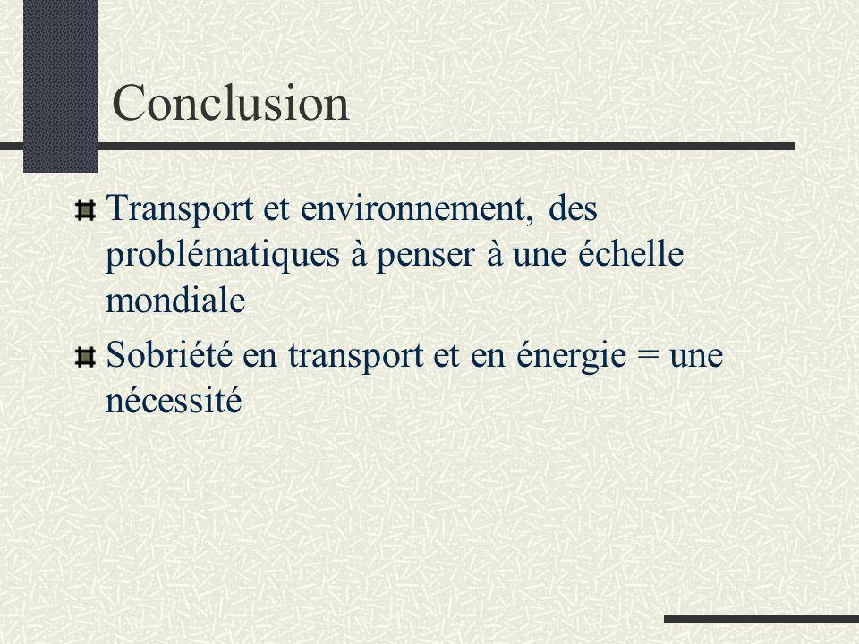 Conclusion Transport et environnement, des problématiques à penser à une échelle mondiale.