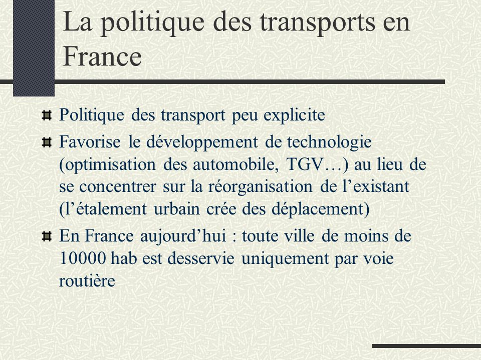 La politique des transports en France