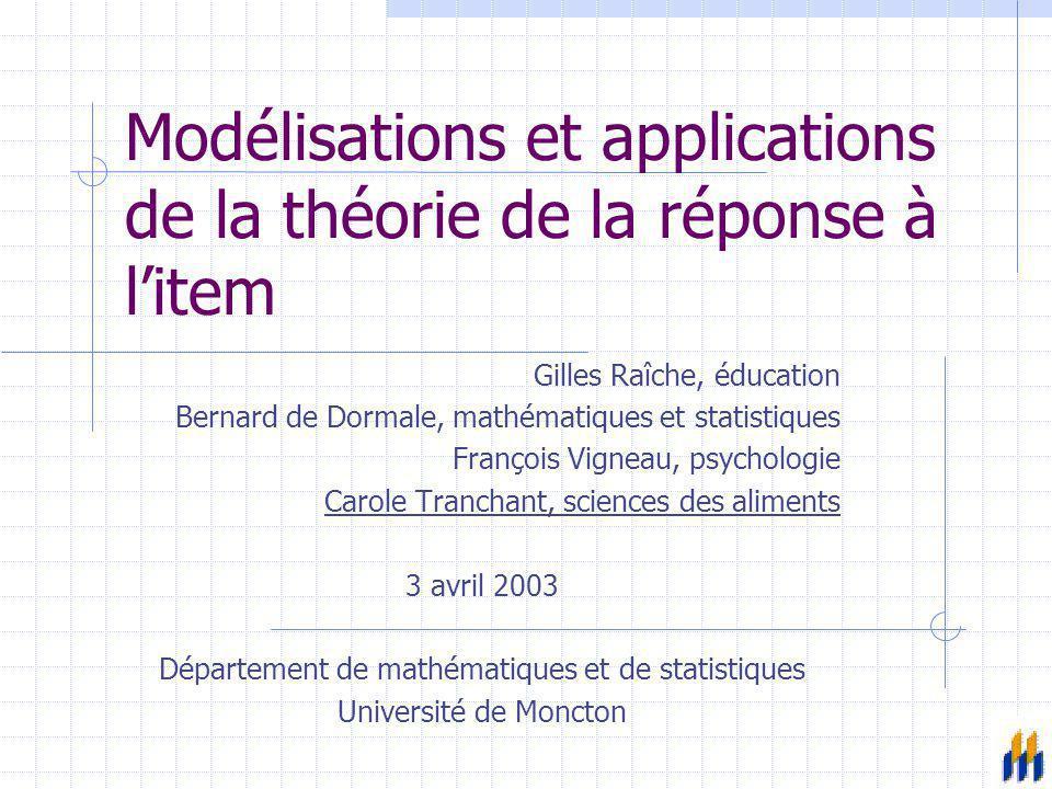 Modélisations et applications de la théorie de la réponse à l'item