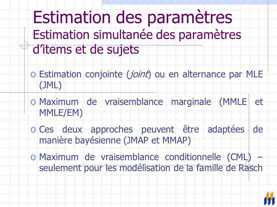 Estimation des paramètres Estimation simultanée des paramètres d'items et de sujets