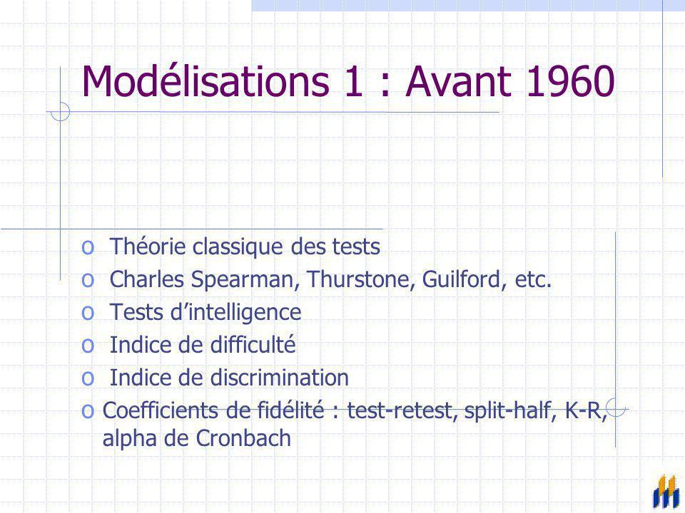Modélisations 1 : Avant 1960 Théorie classique des tests
