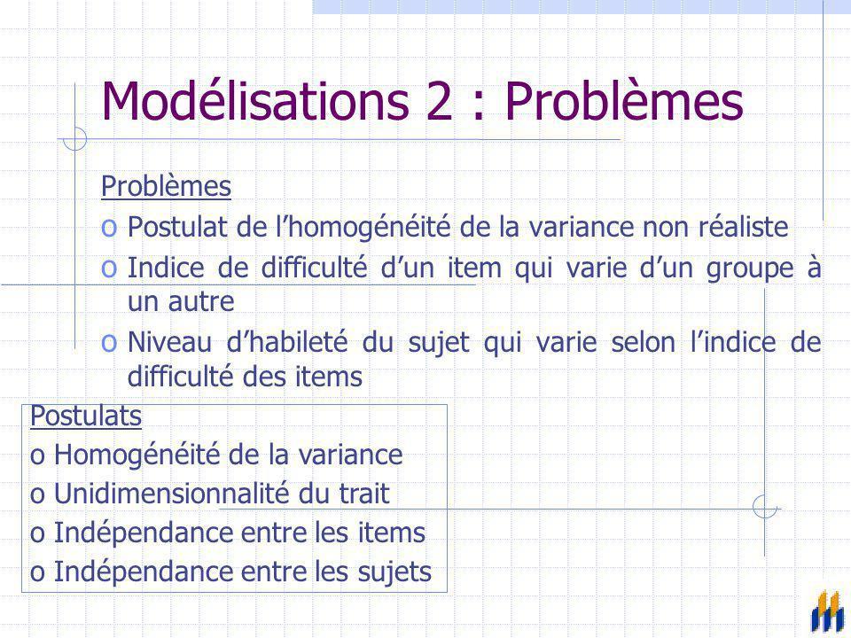 Modélisations 2 : Problèmes