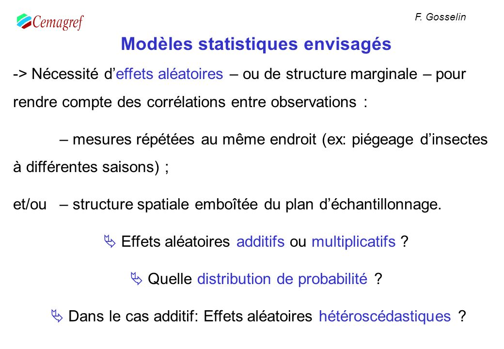 Modèles statistiques envisagés