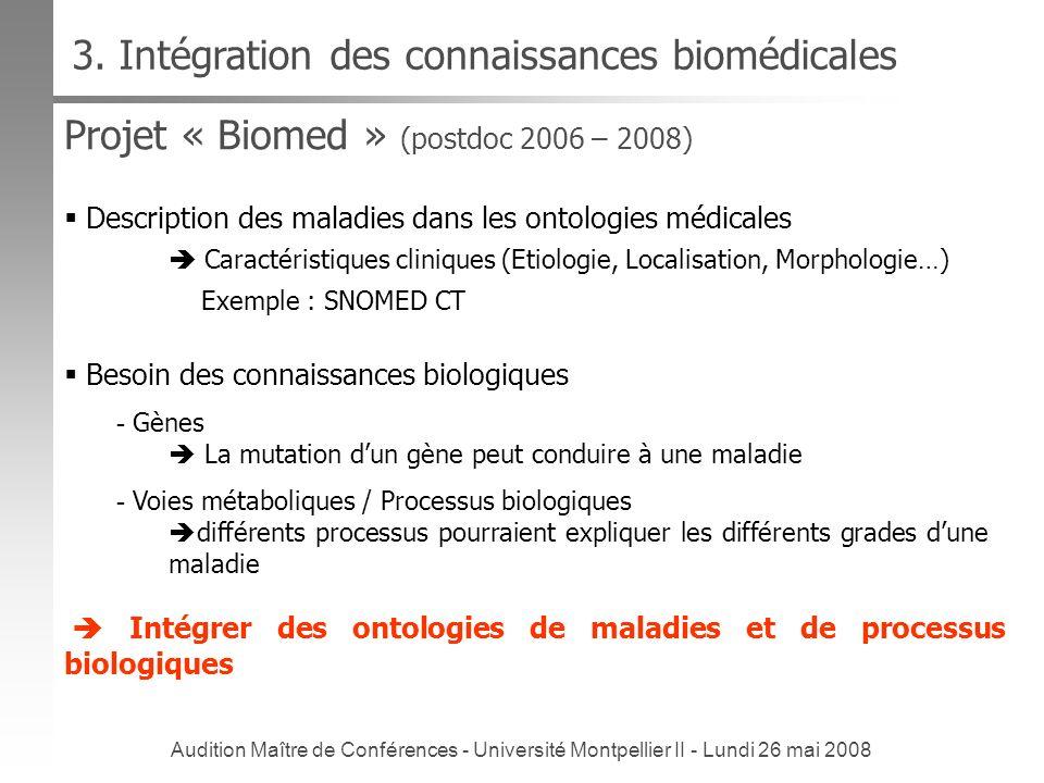 3. Intégration des connaissances biomédicales