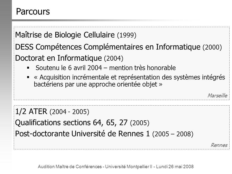 Parcours Maîtrise de Biologie Cellulaire (1999)