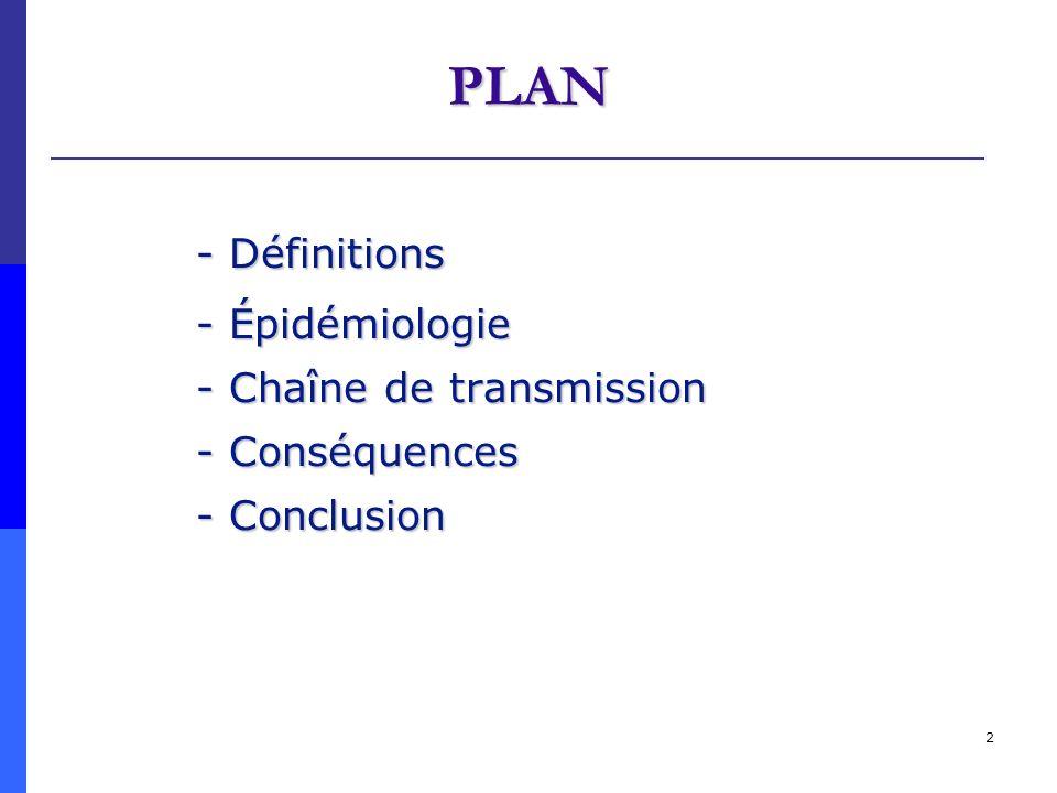 PLAN - Définitions - Épidémiologie - Chaîne de transmission
