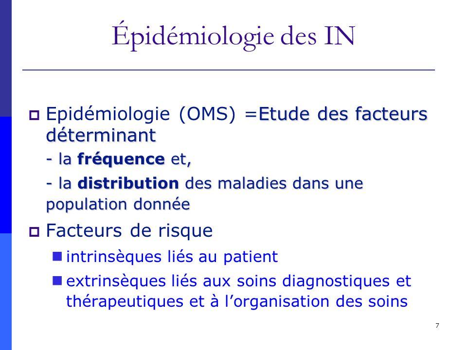 Épidémiologie des IN Epidémiologie (OMS) =Etude des facteurs déterminant. - la fréquence et,