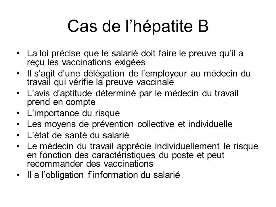Cas de l'hépatite B La loi précise que le salarié doit faire le preuve qu'il a reçu les vaccinations exigées.