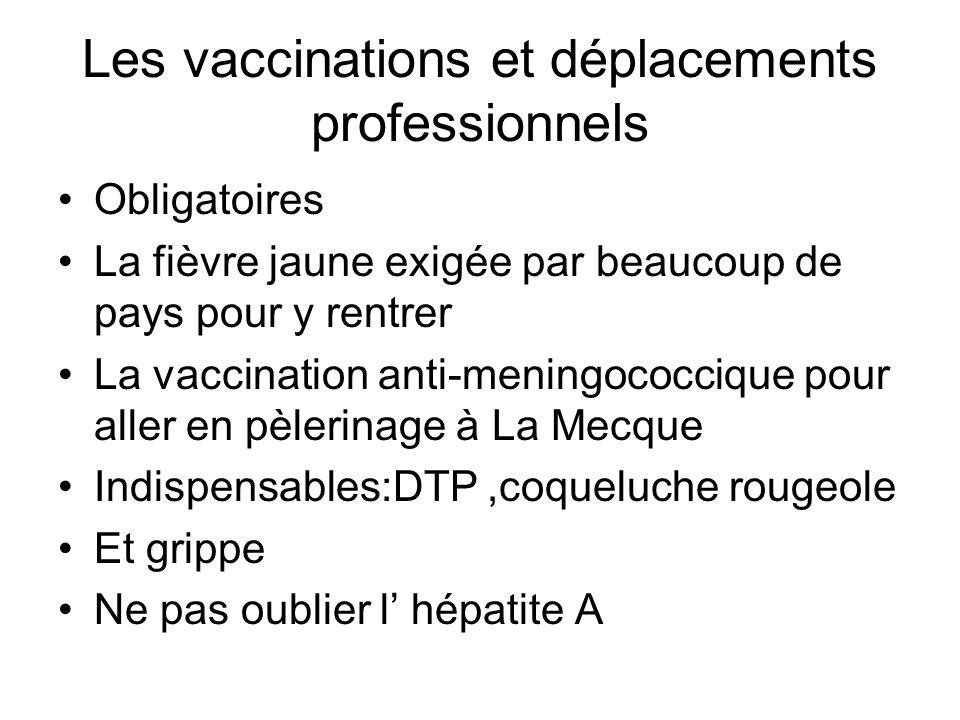 Les vaccinations et déplacements professionnels