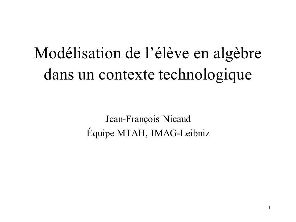 Modélisation de l'élève en algèbre dans un contexte technologique