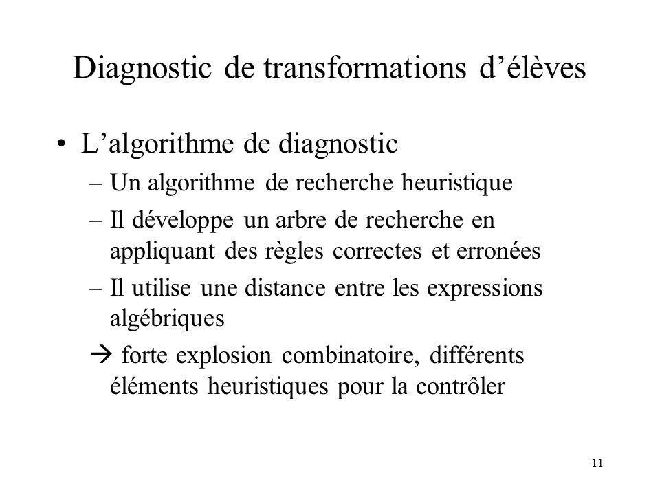 Diagnostic de transformations d'élèves