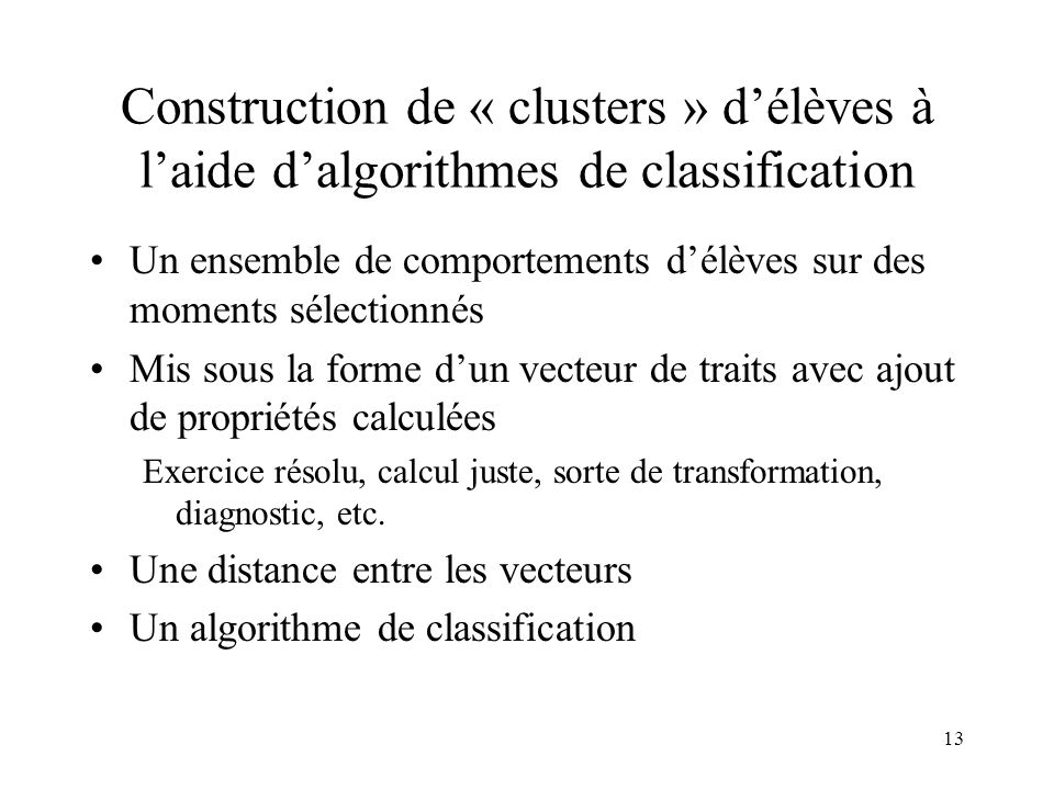 Construction de « clusters » d'élèves à l'aide d'algorithmes de classification