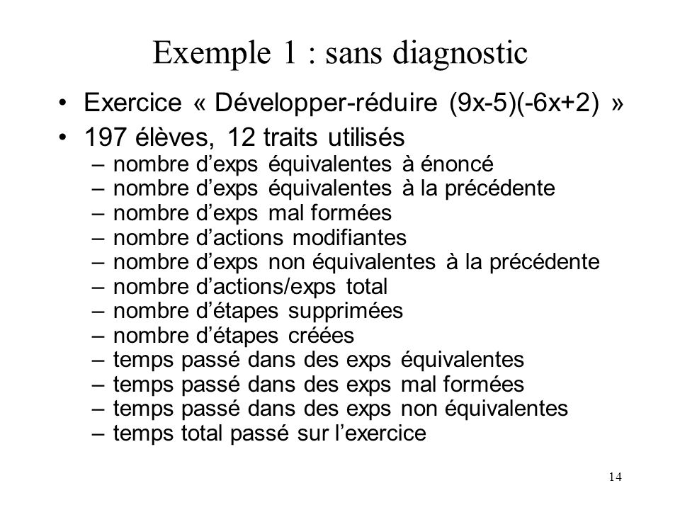 Exemple 1 : sans diagnostic