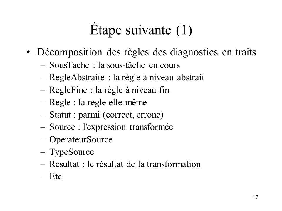 Étape suivante (1) Décomposition des règles des diagnostics en traits